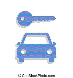 Car key simplistic sign. Vector. Neon blue icon with cyclamen po