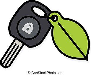 Car key with a colorful green leaf tag