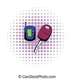 Car key with a remote control comics icon