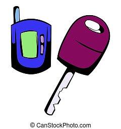 Car key with a remote control icon cartoon