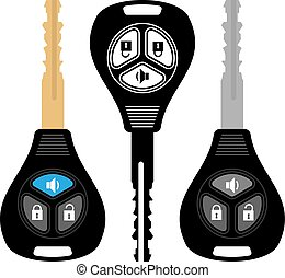 Car Key with Alarm Vector Illustration
