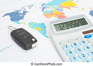 Car key with calculator over print with world map series