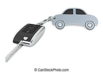 Car key with car shape metal keychain. 3D rendering