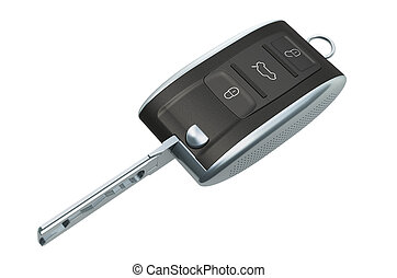 Car key with remote control, 3D rendering