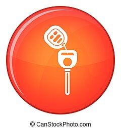 Car key with remote control icon, flat style