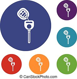 Car key with remote control icons set