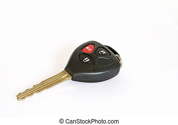 Car key with remote control isolated over white background...