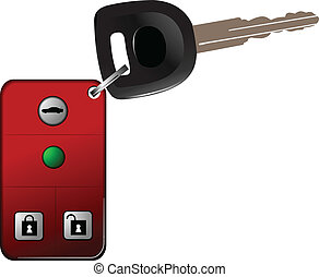 Car key with remote control isolated over white background....