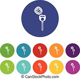 Car key with remote control set icons