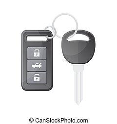 Car Key with Remote Control. Vector