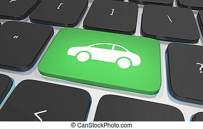 Car Keyboard Button Order Buy Rent Lease Vehicle Internet 3d Illustration