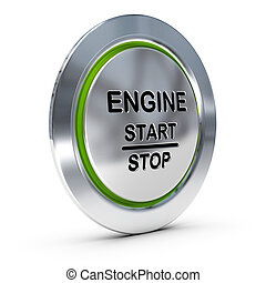 Start and stop keyless ignition button over white background with green light, engine starter concept.