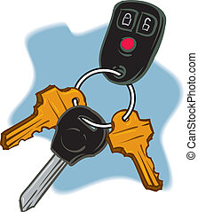 Car Keys - An Illustration of a trio of Keys on a keychain.