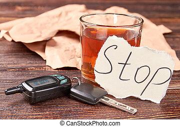Car keys and alcohol.