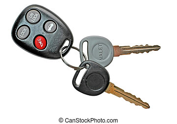 Car keys with keyless entry. Isolated with clipping path.