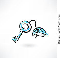 car keys grunge icon