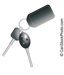car keys - an illustration of car keys with black name tag...
