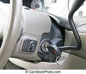Car keys in ignition of interior of car