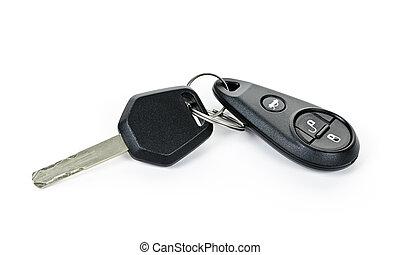 Car keys isolated on white - Car key and keychain fob...