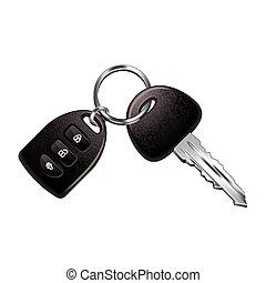 Car keys isolated on white vector - Car keys isolated on...