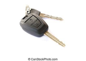 Car keys, objects isolated on white background .