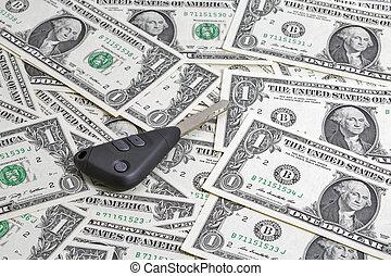 Car keys on one dollar bills background
