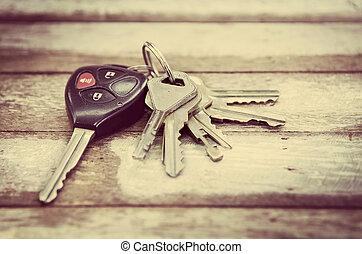 Car Keys on wood background , Old and Used vintage style .