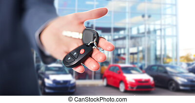 Car keys. - Hand with a Car keys. Transportation. Driving.