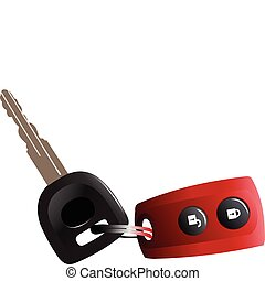 Car keys with remote control isolated over white background...
