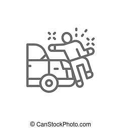 Car knocks down a man, crash line icon.