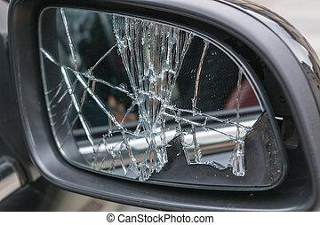 car, lado, quebrada, espelhos