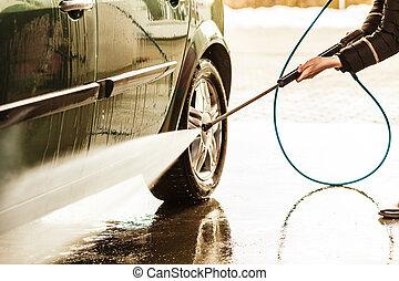 car, lavando, ligado, abrir ar