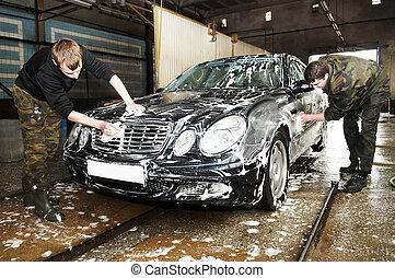 car, lavando, manual