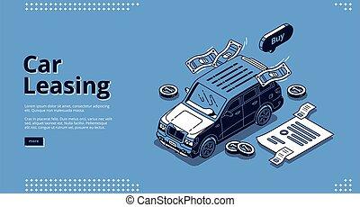 Car leasing isometric landing, automobile lease - Car ...