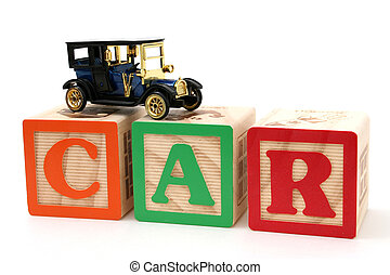 Car Letter Blocks - Black antique car on ABC blocks spelling...