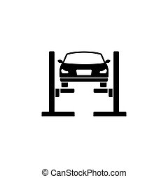 Car Lift. Filled Car Service Flat Vector Icon