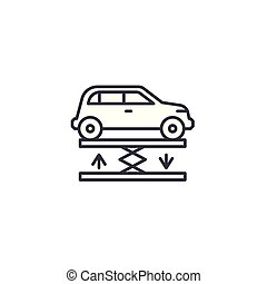 Car lift linear icon concept. Car lift line vector sign, symbol, illustration.