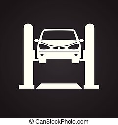 Car lift service procedure on black background for graphic and web design, Modern simple vector sign. Internet concept. Trendy symbol for website design web button or mobile app.