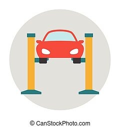 Car lifting flat icon