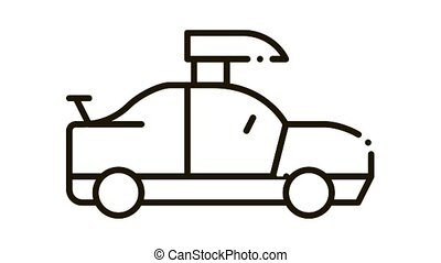 Car Lifting Icon Animation. black Car Lifting animated icon on white background