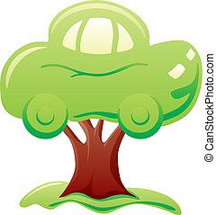 car, ligado, árvore