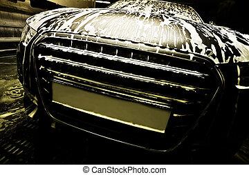 car, ligado, lavagem carro