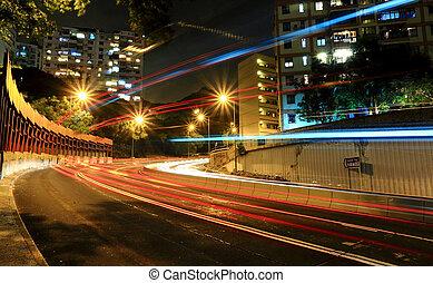 car light in city at night