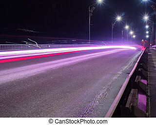 Car Light lines on the road