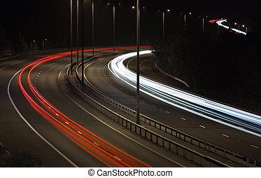 Car Light Trails on Motorway at Night