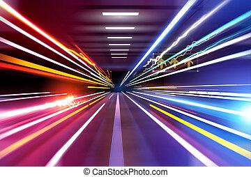Car Light Trails - traffic light trails through an urban...
