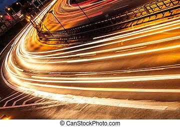 car lights by night
