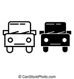 Car line and glyph icon. Automobile vector illustration isolated on white. Square auto outline style design, designed for web and app. Eps 10.