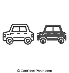 Car line and glyph icon. Automobile vector illustration isolated on white. Transport outline style design, designed for web and app. Eps 10.