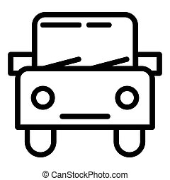 Car line icon. Automobile vector illustration isolated on white. Square auto outline style design, designed for web and app. Eps 10.